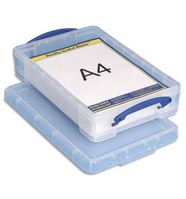 RUB Boîte de rangement + couvercle 4 Litres - Dimensions 39,5 x 8,8 x 25,5 cm coloris transparent