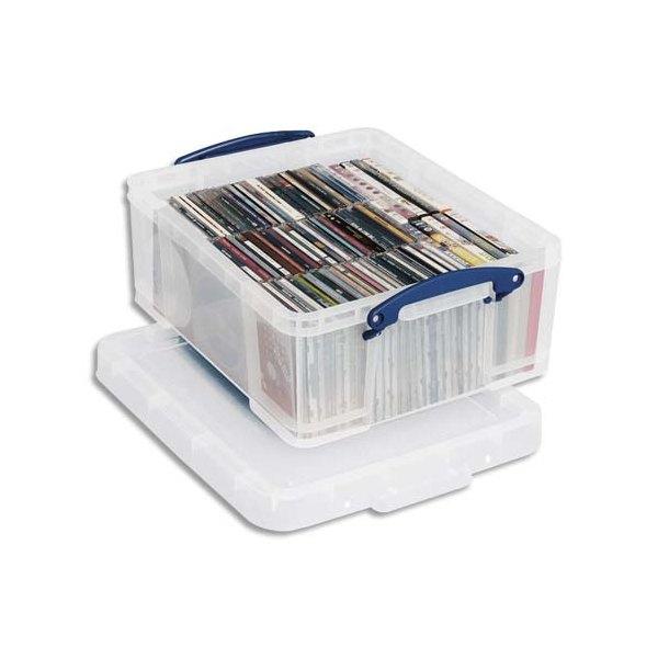 RUB Boîte de rangement 18 Litres + couvercle - Dimensions 48 x 20 x 39 cm coloris transparent
