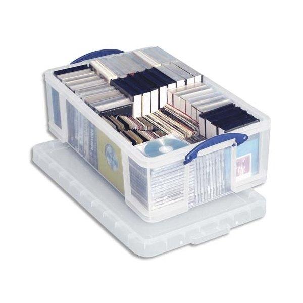 RUB Boîte de rangement 24 Litres + couvercle - Dimensions 46,5 x 29 x 27 cm coloris transparent (photo)