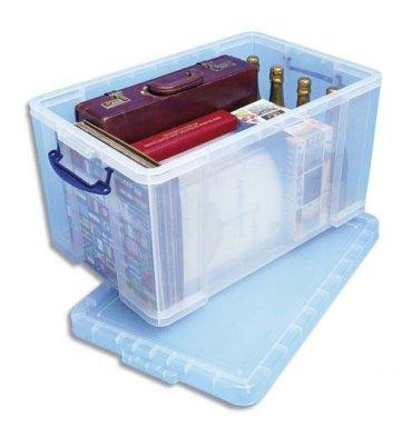 RUB Boîte de rangement 84 Litres + couvercle - Dimensions 71 x 38 x 44 cm coloris transparent
