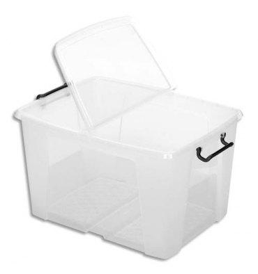 CEP Boîte de rangement Smart Box Strata avec couvercle clipsé transparent 65L