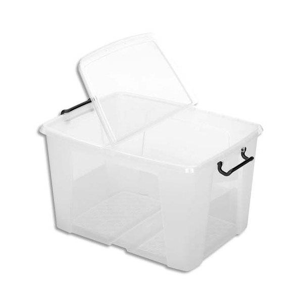 CEP Boîte de rangement Smart Box Strata avec couvercle clipsé transparent 65L (photo)