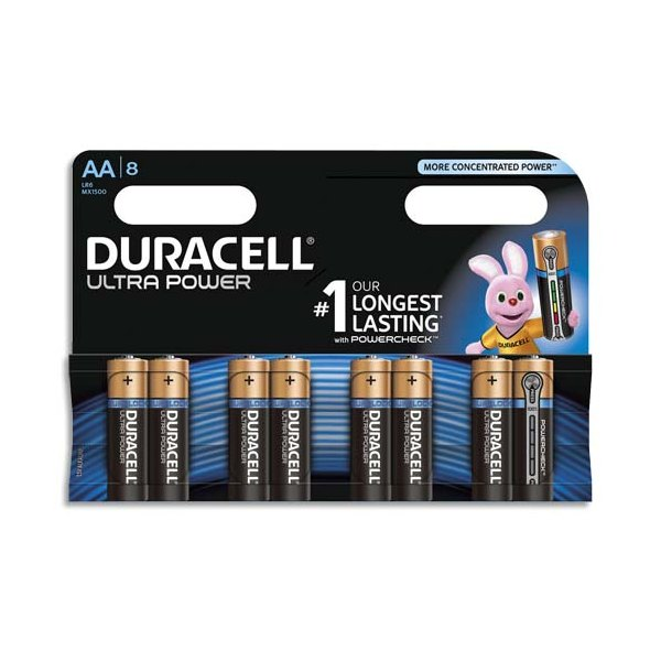 DURACELL Blister de 8 piles Alcalines 1,5V AA LR06 Ultra Power Duralock (photo)
