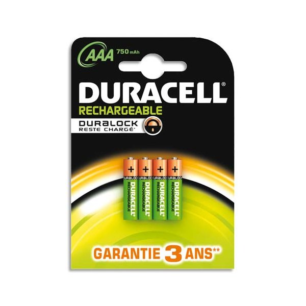 DURACELL Blister de 4 accus rechargeables 1,2V AAA HR3 750 mAh (photo)