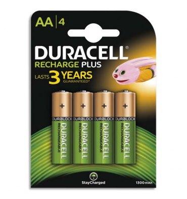 DURACELL Blister de 4 accus rechargeables 1,2V AA HR6 1300 mAh