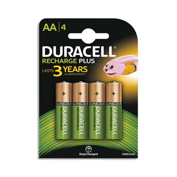 DURACELL Blister de 4 accus rechargeables 1,2V AA HR6 1300 mAh (photo)