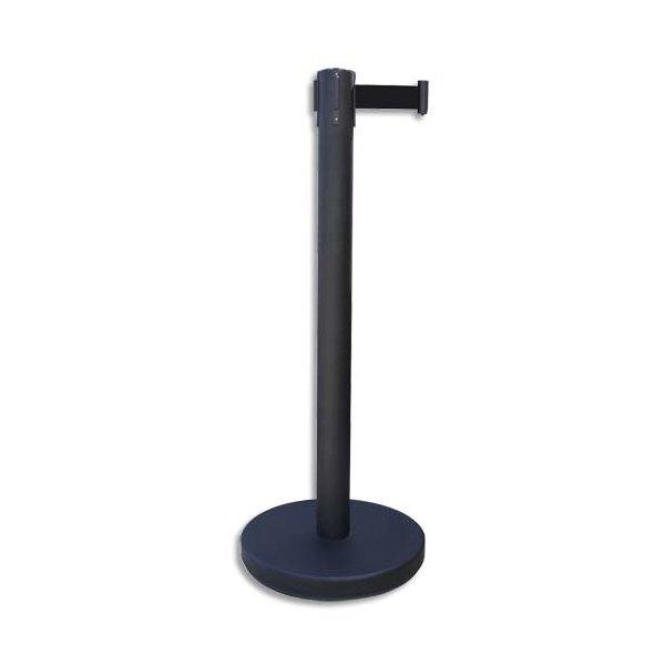VISO Poteau noir Reco + sangle noire rétractable de 2 mètres avec frein