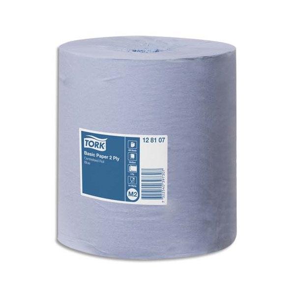 TORK Lot de 6 Bobines papier d'essuyage Basic à dévidage central M2 150m Format prédécoupé 20 x 35 cm bleu