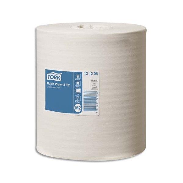 TORK Lot de 6 Bobines papier d'essuyage Basic à dévidage central M2 160m Format prédécoupé 20 x 35 cm blanc