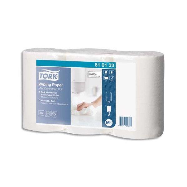 TORK Lot de 3 Mini bobines papier d'essuyage plus à dévidage central M1 120 mètres, non prédécoupé blanc