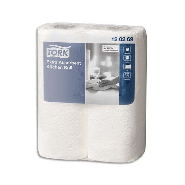 TORK Paquet de 2 rouleaux Essuie-tout Premium Extra absorbant gaufré 2 plis 64 formats 23 x 25 cm