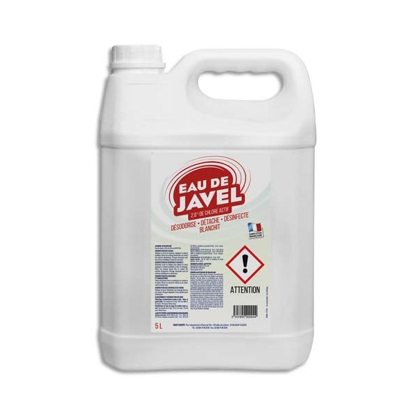 HYGIENE Bidon de 5 Litres d'eau de javel désinfecte, détache, blanchit et désodorise