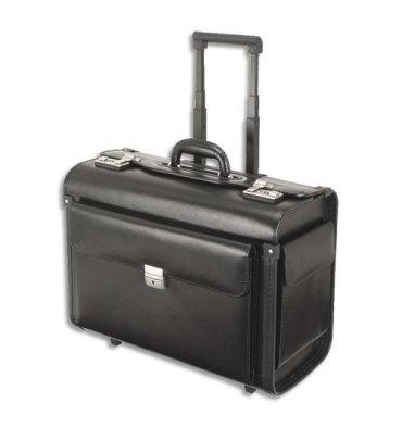 ALASSIO Pilot case classique noir en cuir