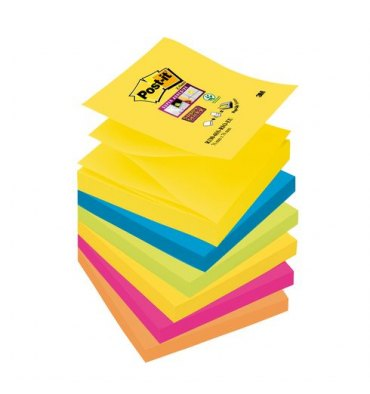 POST-IT Lot de 6 blocs Z-Notes Super Sticky Rio de Janeiro 90 feuilles 7,6 x 7,6 cm