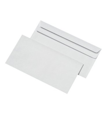 PERGAMY Boîte de 500 enveloppes blanches autocollantes 80g format 110 x 220 mm DL