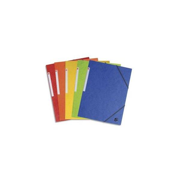 5 ETOILES Lot de 10 chemises 3 rabats à élastique en carte lustrée, coloris assortis standards (photo)