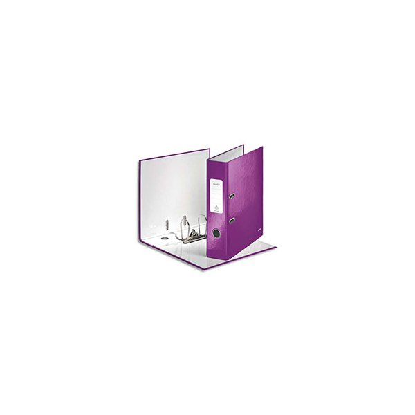 LEITZ Classeur à levier 180° WOW en carton pelliculé, dos 8 cm, coloris violet