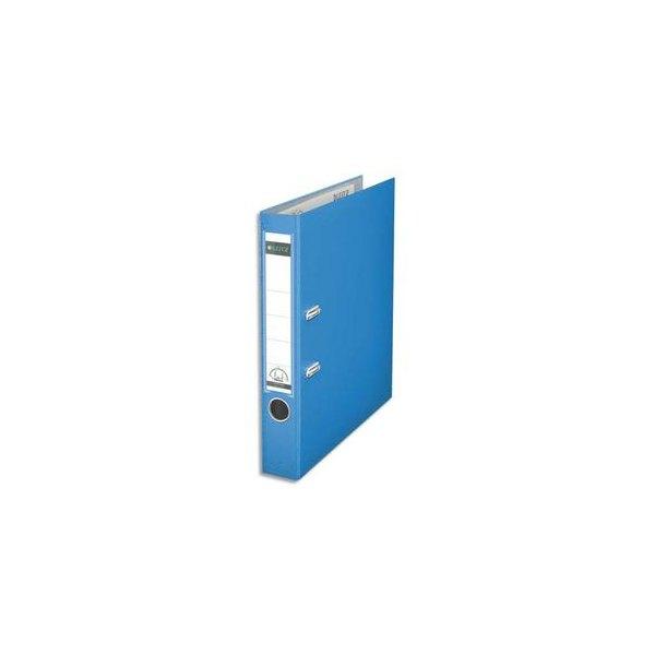 LEITZ Classeur à levier 180 degrés en carton rembordé de polypropylène dos 8 cm coloris bleu clair