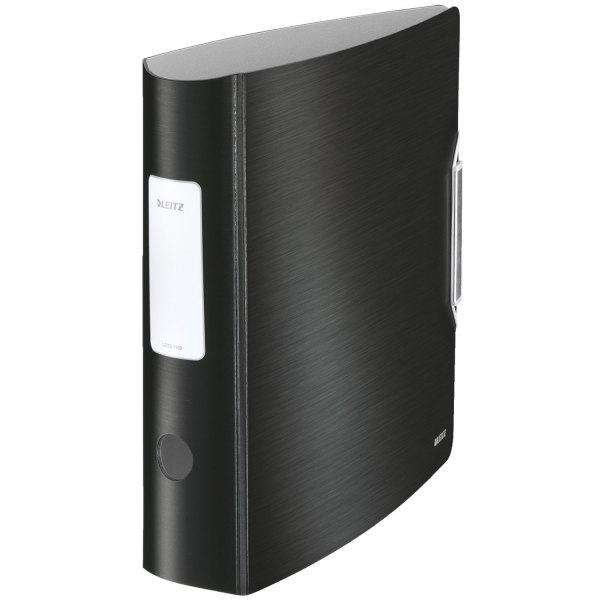 LEITZ Classeur à levier STYLE 180 degrés en polypropylène, dos 75 mm, fermeture par élastique, coloris noir