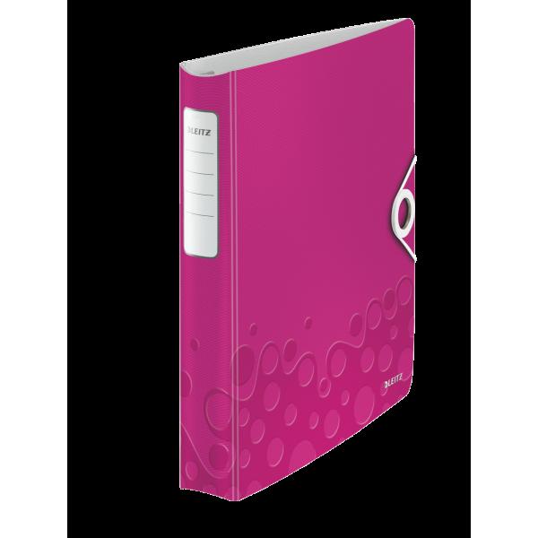 LEITZ Classeur à levier WOW 180 degrés en polypropylène, dos 75 mm, fermeture par élastique, coloris rose