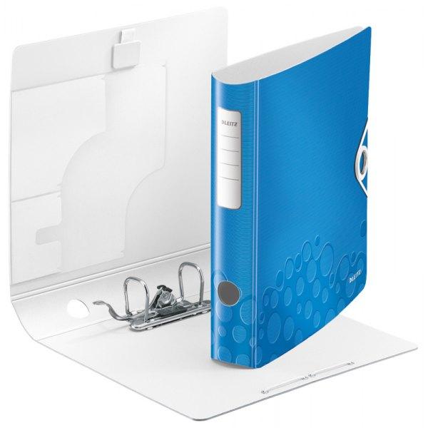 LEITZ Classeur à levier WOW 180 degrés en polypropylène, dos 75 mm, fermeture par élastique, coloris bleu