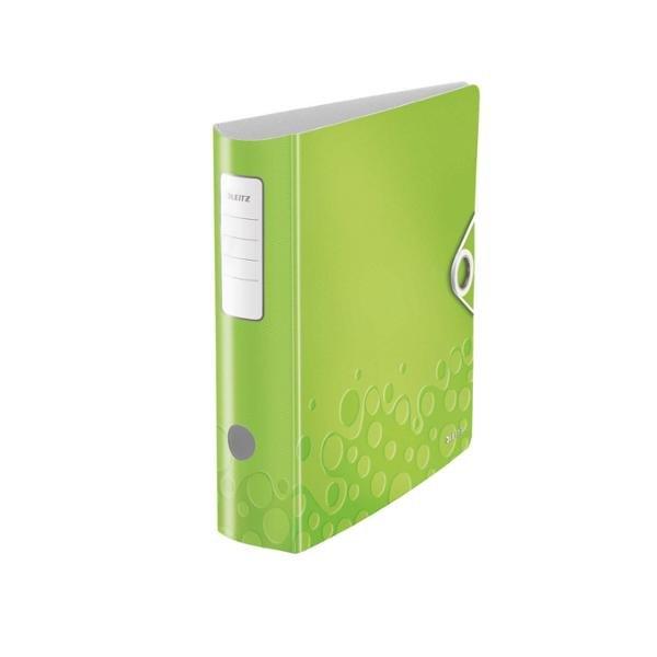 LEITZ Classeur à levier WOW 180 degrés en polypropylène, dos 75 mm, fermeture par élastique, coloris vert