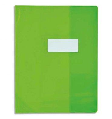 OXFORD Protège-cahier 21 x 29,7 cm Strong Line cristal + renforcés 30/100e. Coloris vert