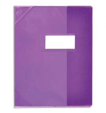 ELBA Protège-cahier 21 x 29,7 cm Strong Line cristal 15/100e + renforcés (30/100e). Coloris violet