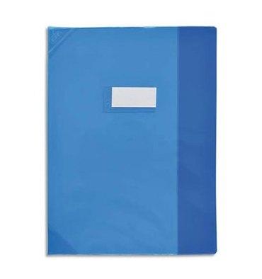 OXFORD Protège-cahier 24 x 32 cm Strong Line cristal + renforcés 30/100e. Coloris bleu