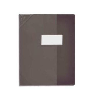 OXFORD Protège-cahier 24 x 32 cm Strong Line cristal 15/100e + renforcés (30/100e). Coloris noir