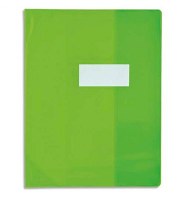 OXFORD Protège-cahier 24 x 32 cm Strong Line cristal + renforcés 30/100e. Coloris vert