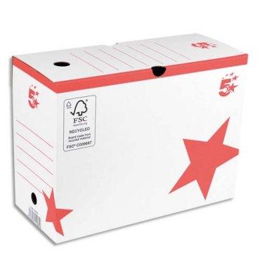 5 ETOILES Boîtes archives dos 10 cm, montage automatique, kraft blanc imprimé rouge