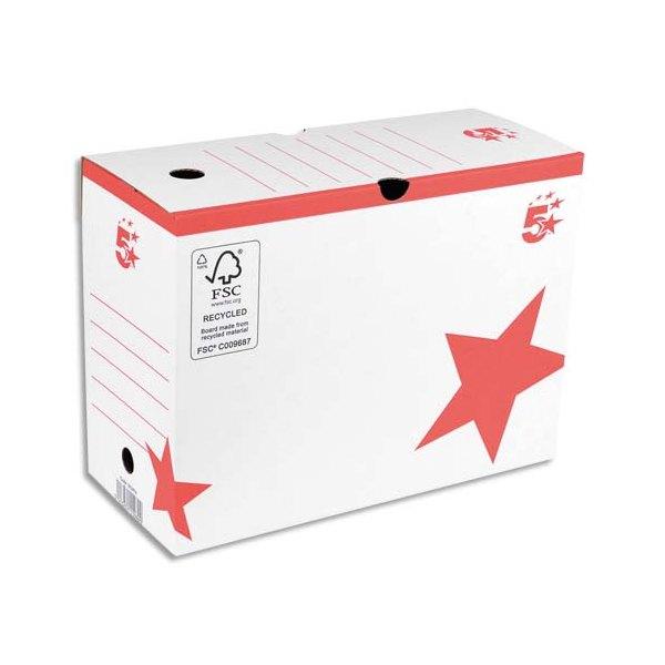 5 ETOILES Boîtes archives dos 10 cm, montage automatique, kraft blanc imprimé rouge (photo)