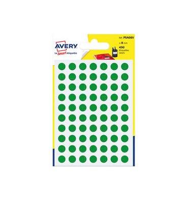 AVERY Sachet de 490 pastilles diamètre 8 mm. Ecriture manuelle. Coloris vert