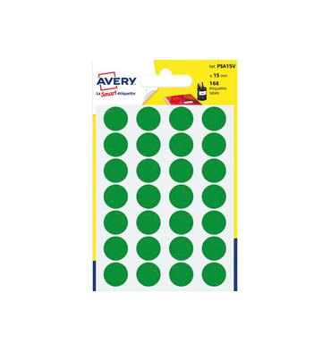 AVERY Sachet de 168 pastilles diamètre 15 mm. Ecriture manuelle. Coloris vert