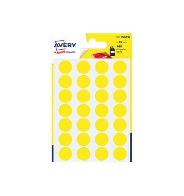 AVERY Sachet de 168 pastilles diamètre 15 mm. Ecriture manuelle. Coloris jaune