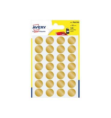 AVERY Sachet de 120 pastilles diamètre 15 mm. Ecriture manuelle. Coloris or