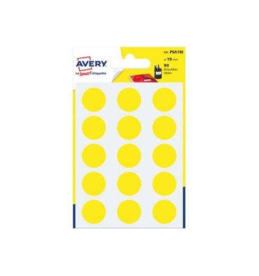 AVERY Sachet de 90 pastilles diamètre 19 mm. Ecriture manuelle. Coloris jaune
