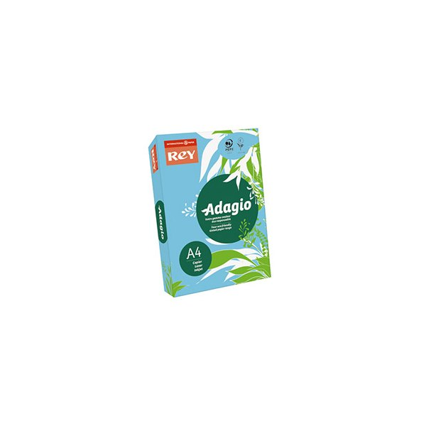 REY BY PAPYRUS Ramette de 250 feuilles papier couleur ADAGIO copieur, laser, jet d'encre 160g A4 bleu vif