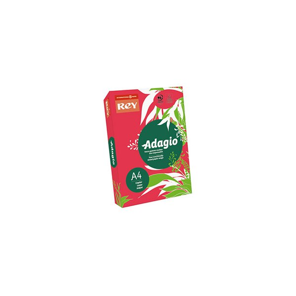 REY BY PAPYRUS Ramette de 500 feuilles papier couleur ADAGIO+ copieur, laser, jet d'encre 80g A4 rouge intense