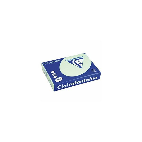 CLAIREFONTAINE Ramette de 500 feuilles papier couleur TROPHEE 80g A4 vert pastel