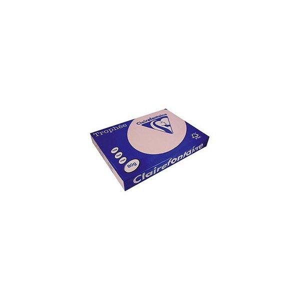 CLAIREFONTAINE Ramette de 500 feuilles papier couleur TROPHEE 80g format A4 rose pastel