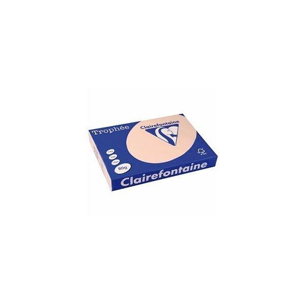 CLAIREFONTAINE Ramette de 500 feuilles papier couleur TROPHEE 80g A4 saumon pastel