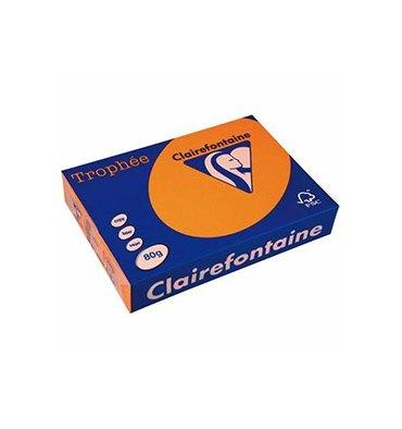 CLAIREFONTAINE Ramette de 500 feuilles papier couleur TROPHEE 80g A4 orange vif