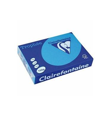 CLAIREFONTAINE Ramette de 250 feuilles papier couleur TROPHEE 160g A4 bleu turquoise