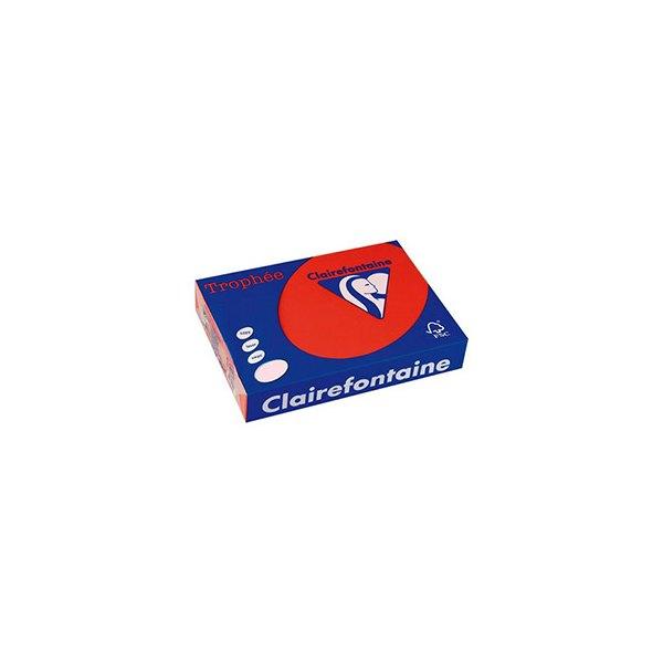 CLAIREFONTAINE Ramette de 250 feuilles papier couleur TROPHEE 160g A4 rouge cardinal