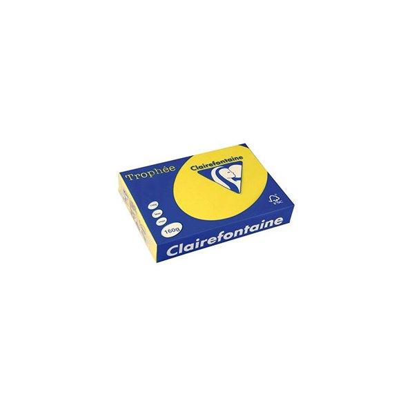 CLAIREFONTAINE Ramette de 250 feuilles papier couleur TROPHEE 160g A4 jaune soleil