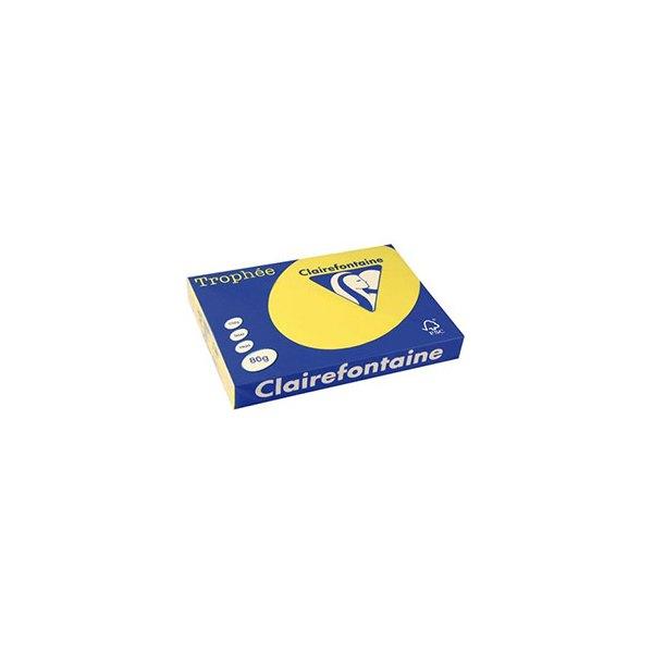 CLAIREFONTAINE Ramette de 500 feuilles papier couleur TROPHEE 80g A3 jaune soleil