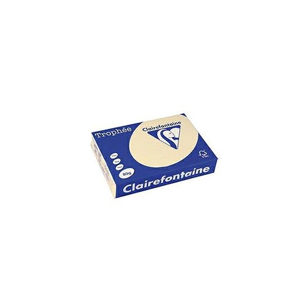 CLAIREFONTAINE Ramette de 500 feuilles papier couleur TROPHEE 80g A3 chamois