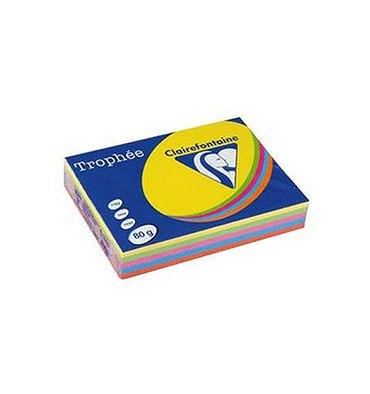 CLAIREFONTAINE Ramette 5x100 feuilles papier Trophée 80g A4 assortis intense soleil